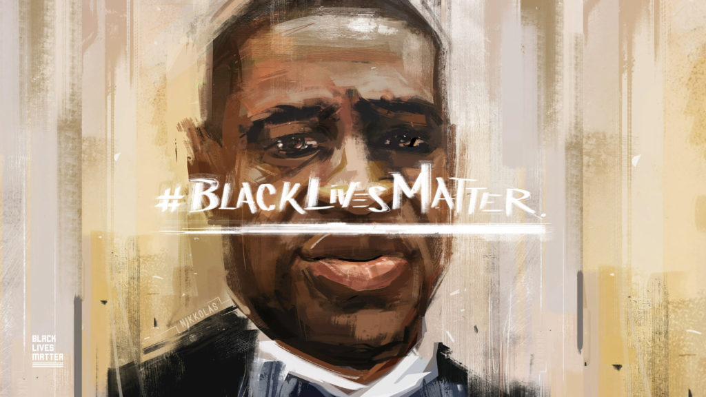 Painting of George Food with Black Lives Matter written across image