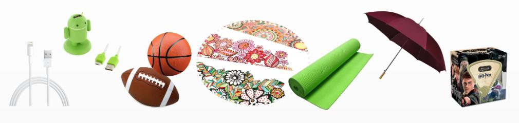 Icons of umbrella, chargers, coloring book, sport ball, yoga mat